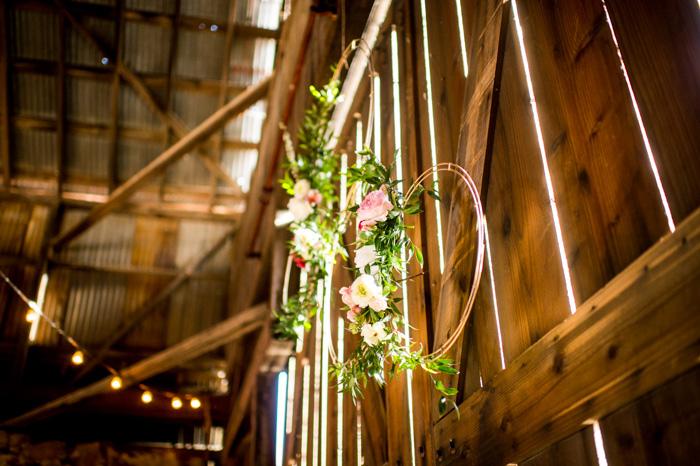 wedding hoops floral display
